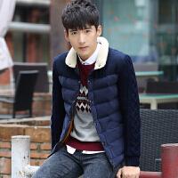慈姑男士棉衣冬季青年冬装帅气休闲外套潮流韩版修身加厚棉袄 藏青色