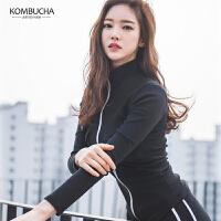 【领券满200减20/满400减50】Kombucha运动套装2018新款女士纯棉修身显瘦瑜伽健身跑步外套长裤背心组合