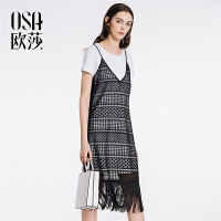 ⑩OSA欧莎2018春装新款女装时尚吊带镂空流苏连衣裙