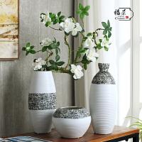 创意落地花瓶摆件家居装饰品陶瓷陶艺三件套葵花客厅花插