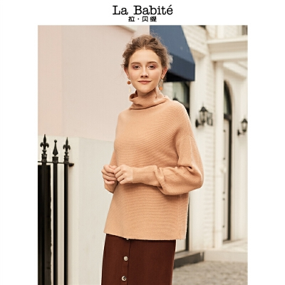 【满399减50】羊绒衫女半高领新款宽松套头打底针织衫短款内搭毛衣