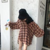 夏季韩版chic宽松雪纺格子中长款长袖衬衫百搭薄款防晒衫上衣女潮 均码