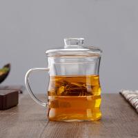 三件套竹节泡茶用过滤耐热玻璃杯 时尚带把玻璃功夫茶杯带盖套装茶具水杯玻璃杯花茶杯350ML