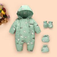 婴儿羽绒服连体衣新生儿哈衣男女宝宝外出服加厚保暖爬服1-2-3岁