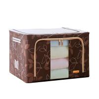 木晖牛津布带拉链可视窗不锈钢架百纳箱衣物收纳箱整理箱 11L咖啡树叶30*23*16cm