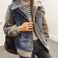 2018春秋新款韩版时尚羊羔毛外套+牛仔马甲短款 两件套 灰外套+牛仔马甲