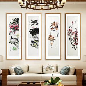 花鸟四条屏《春 夏 秋 冬》实力画家松涛 边秀后R2661