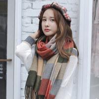 羊毛围巾女冬季韩国大格子加厚围脖保暖长款秋冬天披肩多功能围巾