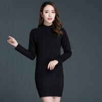 2018新款半高领超火毛衣女羊绒衫中长款韩版宽松套头打底羊毛衫女