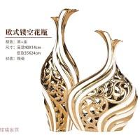 欧式创意陶瓷花瓶三件套客厅摆件结婚礼物插花奢华新房家居装饰品