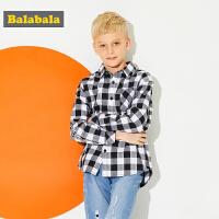 巴拉巴拉童装男童衬衫中大童儿童春秋2018新款格子长袖帅气衬衣男