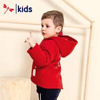 红蜻蜓男童2018新款冬中大童中长款连帽棉衣卡通洋气保暖外套