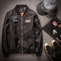 棒球服男士外套秋冬季飞行员夹克棉衣加大码女士情侣装潮流 棉衣款 飞机黑色