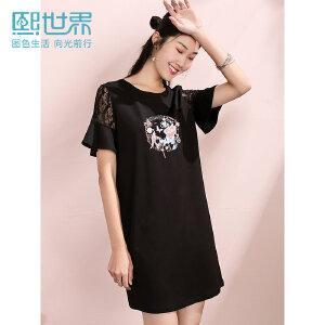 熙世界蕾丝喇叭袖连衣裙女黑色2019夏季新款花朵刺绣短袖裙子女