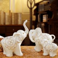 新婚礼物家居装饰品大象摆件欧式陶瓷客厅电视柜玄关摆设结婚礼品 【一家三口】细腻玉瓷,纯手工描金