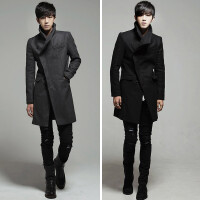 2018冬季新款呢子风衣男中长款韩版修身青少年毛呢大衣外套潮男
