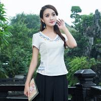 中国风女装夏季新款 短袖绣花领文艺民族风上衣棉麻衬衣打底衫女