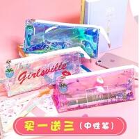 抖音同款文具盒透明笔袋韩国简约女生小清新可爱创意大容量铅笔盒