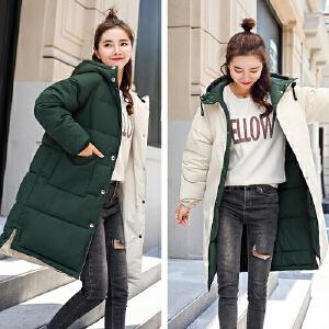 【超级品牌日!下单立减100!】2018冬季新款加厚棉衣中长款棉服韩版学生两面穿外套女
