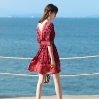 海边度假沙滩裙女夏露背雪纺中长裙民族风教师连衣裙泰国旅游短裙 图片色 YZ18B252