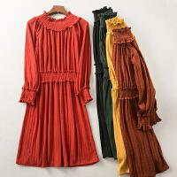 冬季新款弹力松紧腰显瘦气质甜美连衣裙