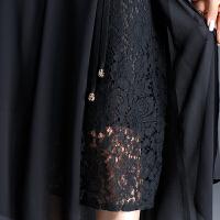 雪纺半身长裙女夏大码高腰蕾丝侧开叉黑色字裙半身裙中长款裙子