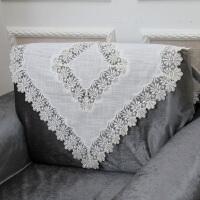 欧式布艺沙发靠背巾蕾丝镂空沙发巾扶手巾时尚防滑白色 扶桑情节