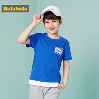 巴拉巴拉童装男童T恤短袖中大童儿童夏装新款撞色印花体恤潮