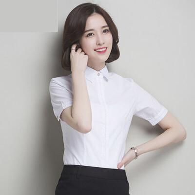 夏季新款 衬衫女短袖白色修身正装韩版女装工作服衬衣 -