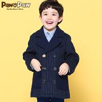 【3件3折 到手价:449】Pawinpaw宝英宝卡通小熊童装男童毛呢大衣中长款外套休闲