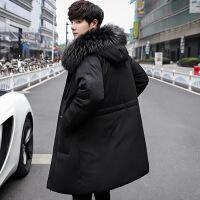 毛领羽绒服男士中长款韩版潮白鸭绒连帽新款青年加厚冬季帅气外套