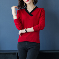 秋冬羊绒衫女V领韩版修身羊毛针织衫时尚打底衫女士毛衣