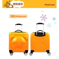 18寸万向轮方形多种卡通图案男女儿童拉杆旅行小孩行李登机箱 桔色 18寸小熊