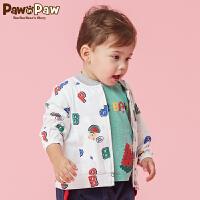 【3件3折 到手价:137】Pawinpaw卡通小熊童装夏款男宝宝休闲长袖外套婴幼儿印花上衣