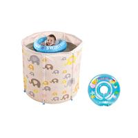 婴儿游泳池家用保温新生幼儿童支架大号洗澡桶小孩宝宝游泳桶 小吉象单层脖圈套餐(0-6个月)