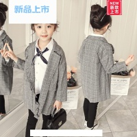 韩国代购女童西装外套小女孩秋季英伦风格子开衫儿童2018新款上衣