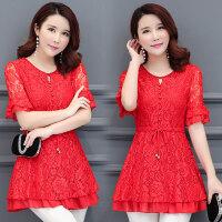 韩版中年大码女装蕾丝雪纺衫短袖百搭显瘦中长款打底衫喇叭袖上衣
