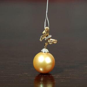 14k金镶嵌南洋金色珍珠项坠