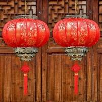 喜庆大红灯笼挂饰仿古中式阳台吊灯户外节日新年春节牡丹灯笼