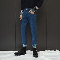新款牛仔裤男秋冬季2018港风水洗简约修身小脚裤脚不规则设计长裤