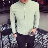 新款小版男装衬衫长袖S码矮小个子修身纯色衬衣发型师潮男休闲寸
