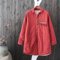 J22复古棉衣中长柔软舒适全棉格子内衬刺绣衬衫夹棉加厚外套