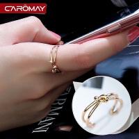 饰品简约打结镀18K彩金玫瑰金开口戒指女 个性食指戒尾戒