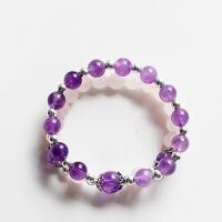 天然乌拉圭紫水晶粉晶手链女 双圈手串饰品礼品 8mm