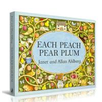 英文原版廖彩杏书单 Each Peach Pear Plum board book 桃子、李子和梅子纸板书 凯特・格林