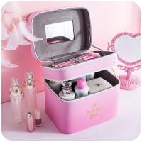 少女心化妆包大容量手提化妆品收纳箱便携可爱卡通小号迷你化妆箱
