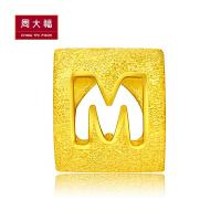 周大福 珠宝M字母转运珠黄金吊坠(工费:48计价)F189556