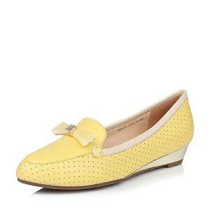 Belle/百丽春季专柜同款黄色舒适百搭绵羊皮女单鞋(冲孔)BHA16AQ6