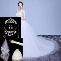 婚纱礼服新款2018时尚结婚V领双肩齐地孕妇韩式婚纱长拖尾大码春 +8件套