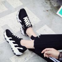 女鞋休闲鞋女松糕增高板鞋春季透气帆布鞋女生平底潮流单鞋女运动鞋女鞋子潮6624